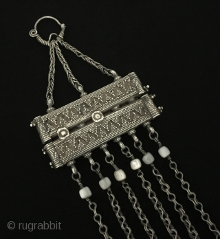 Central-Asia Antique Ethnic from Kazakhstan tribal silver tassel pendant with coral Fine condition! Circa - 1900 Size - Height : 22 cm - Width : 8 cm - Weight : 83 gr  ...