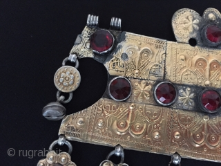 Central-Asia Turkmen - yomud antique tribal silver pendant with gemstone fire gilded original turkmen ethnic jewelry / jewellery Circa - 1900 or earlier Size - Height : 14.5 cm - Lenght :  ...
