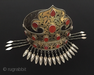 Central-Asia Rare Ethnic Turkmen traditional silver crown fine fire gilded with cornalian This is Turkmen collector jewelry / jewellery Great and Excellent condition ! Circa - 1900 Size - Height : 22  ...