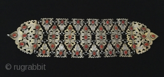 Central-Asia Turkmenistan Antique Ethnic Silver Headdress with cornalian fire gilded open work Excellent condition Circa-1900 Size : 40 cm x 11 cm - Weight : 181 gr Thank you for visiting my  ...