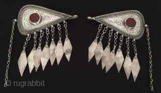 Central-Asia Afghanistan Ethnic Tribal Silver Hair Clip İslamic writting for goodluck with cornalian Circa-1900 Size : ''12 cm x 10'' cm - Weight : 71 gr Thank you for visiting my rugrabbit  ...