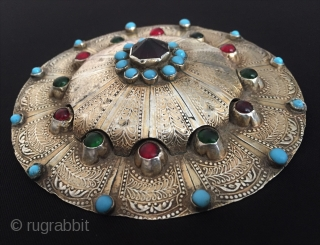 Central-Asia Turkmen-yomud A beautifull ethnic tribal silver gulyhaka pendant button fire gilded with turquoise and glass Fine condition ! Circa - 1900 Size - '' 11.5 cm x 11.5 cm - Circumference  ...