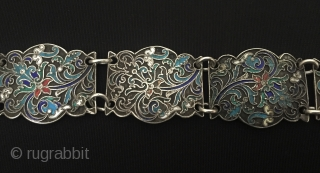 Made of from Russian Antique silver enamel belt Great condition ! Circa - 1900 or earlier Size - Lenght : 80 cm - Belt buckle width : 6.3 cm - Width :  ...