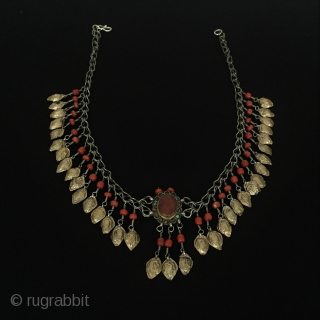 Central-Asia Uzbekistan Antique Ethnic Tribal Silver Necklace with coral fire gilded Very fine condition Circa-1900 Lenght : ''50cm'' - Width : ''7cm'' - Weight : 40 gr Thank you for visiting my  ...