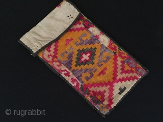 Uzbekistan Ethnic traditional silk embroidery small bag for coins. Naturel beautifull color collection wallet Circa-1900 Size :21.5cm x 12cm