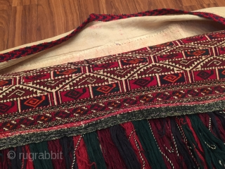 Turkmen - Yomod torbo with wool tassel Fine condition Naturel color Circa - 1920 - 40 Size - '' 128 cm x 30 cm '' - With tassel height : 85 cm  ...