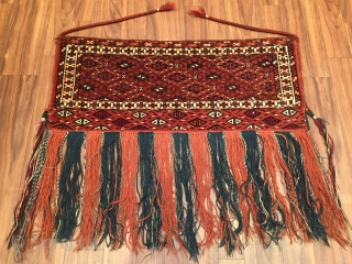 Turkmen - yomud Asmalyk Size - '' 84 cm x 35 cm '' - Height with tassel : 73 cm
