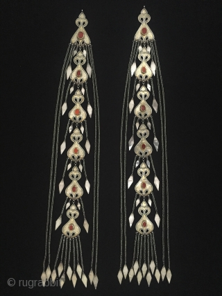 Central-Asia A pair of Ethnic Traditional Turkmen - İskendery silver headdress jewelery fine fire gilded with cornalian This Turkmen collector jewelry - jewellery Great and Excellent condition ! Circa - 1900 or  ...
