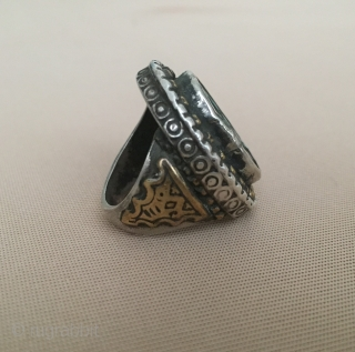Central-Asia A beautifull ethnic tribal Turkmen / Turkoman silver ring with old jade stone and gold washed traditional jewelry / jewellery Great condition ! Circa - 1900 or earlier Size - 19  ...