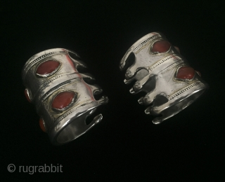 Central-Asia Turkmen - Tekke antique pair of tribal silver collector bracelets fire gilded with cornalian. original ethnic traditional turkmen / turkoman jewelry / jewellery Great condition ! Circa - 1900 or earlier  ...
