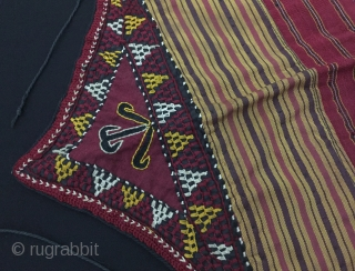 Central-Asia Ethnic tribal Turkmen children's dress Made of a nice silk fabric and also silk embroidered shoulder edges Fine condition ! Circa - 1900 - 30 Size - Height : 49 cm  ...
