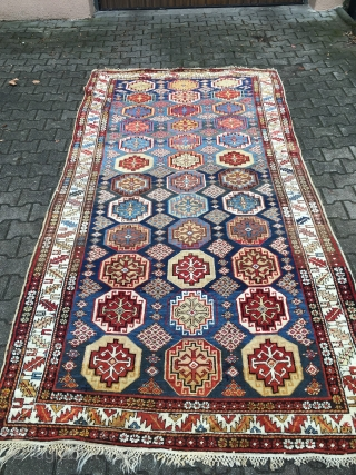 Fantastic sky blue shirwan area antique beauty. Very elegant Caucasian piece with a very good size (320 cm x 170 cm; 10.4 ft x 5.5 ft ).Great abrashes and original ends and  ...