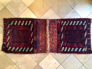 Great Bakthiari or Luri double bag. Lovely pile and dyes. 44 cm x 41 cm each. All in all 109 cm x 41 cm