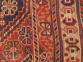 Nice small Gashgai rug with red weft: 185 cm x 120 cm as found. Only good colours.