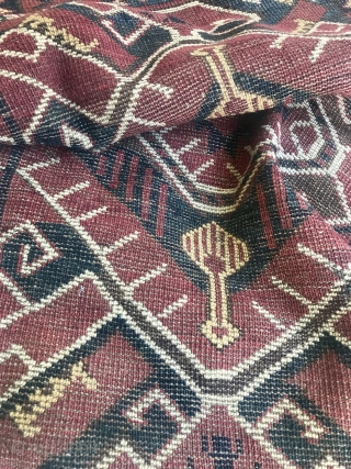 Impressive Beshir or Ersari chuval with Ikat design. Rare! Complete with one tiny hole. Big size and super decorative not on the wall. With original kelim and huge size: 160 cm x  ...