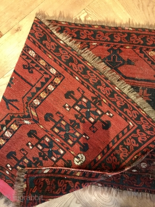 Ersari trapping with issues but still nice tribal piece. Washed: 160 cm x 50 cm