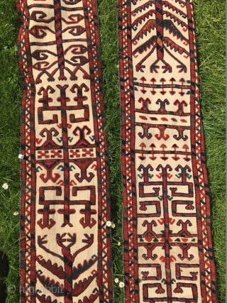Great piece of a Turkmen tentband: approx. 8,3 m and 31 cm. Fantastic dyes! Lovely piece reasonably priced.