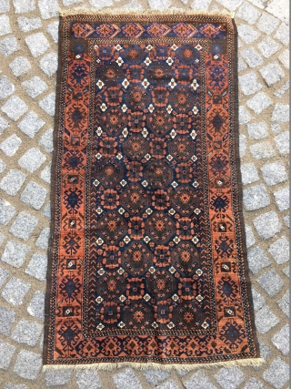 Silky Baluch with great dyes and wool! Super tribal border! 160 cm x 90 cm approx. and washed
