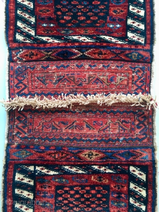 Great Bakthiari or Luri double bag. Lovely pile and dyes. 44 cm x 41 cm each. All kn all 109 cm x 41 cm