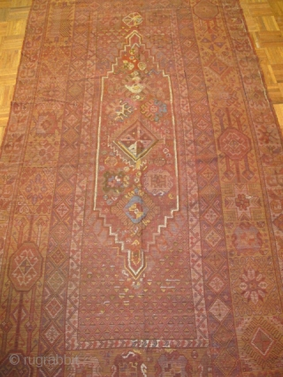 Moroccan Rabat Corridor Carpet, exceptional natural colors including vibrant yellow and several hues of green. corroded cochineal field has areas of kasmiring that are visible from the back. An enigmatic rendering of  ...