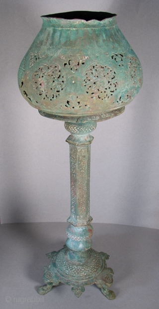 "ISL_0170  Central Asian Bronze Lampstand with Shade and Related Lamp, 12th Century, 24"" Tall,  This is an extremely rare example of a 12th Century lampstand complete with its original shade.  ..."