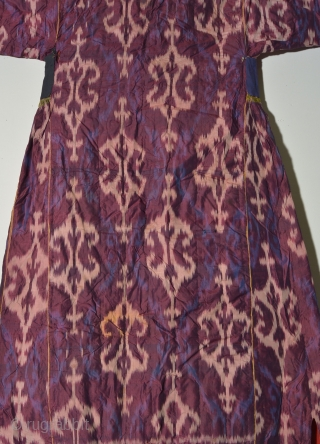 UZBEK 35 Central Asian Ikat Coat, Silk with cotton backing, 19th Century, 46 x 57 inches, Some minor tears and stains, overall price: