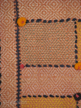 Old Indian Quilt, Cotton, 58 x 43 inches, Edges frayed but overall in good condition