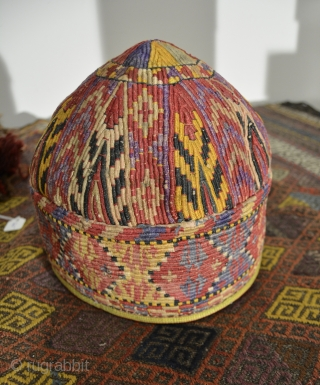 Central Asian Hat, Silk/Cotton, Early 20th Century, 7.5 x 8 inches, Some fading, stains and minor color runs.  Could probably use a cleaning.