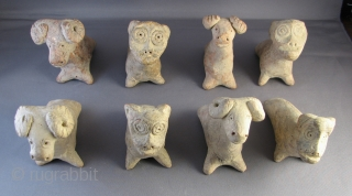 "Group of eight Central Asian ""khushtak"" clay whistles.  These were traditionally blown by children during the holiday of Nauruz.  They were collected in Northern Afghanistan and appear to be older  ..."