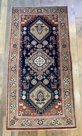 Nice antique Karaja rug with birds and people ca 1900