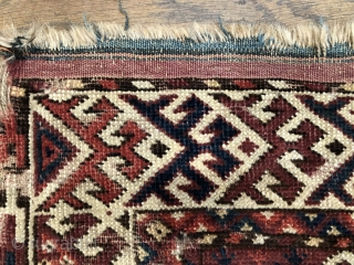 Rare antique Kizil Ayak double niche rug mid 19 c size 159 x 110 cm All wool natural dyes open right knotting .  Some original kelim finish both ends and traces oforiginal  ...