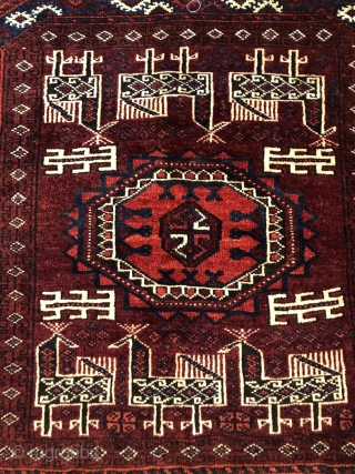 Rare antique Baluch saddle cover with birds ca 1880