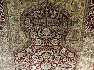 Lovely signed silk Hereke prayer rug mid 20 c about 1.5 x 1 m Mint condition no cracking from an old English collection purchased at Christie's around 1990