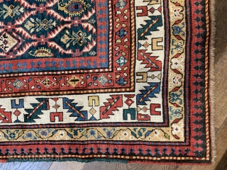Rare antique green ground Gendje rug very good condition size 200 x 126 cm ca 1880