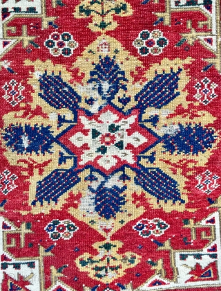 Late 18 c  Turkish Dazgiri, so called Mc Mullan design yastik 60 x59 cm almost identical to the published example great colour and weave chipped ends no repair available