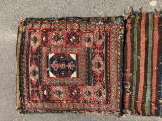 Detail complete pair sumac bags ca 1860