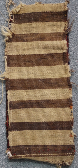 antique Shasavan spoon bag ca 1900 with original striped back size 42 x 18 cm. All good dyes whites are cotton. Nibble to one corner could use a clean