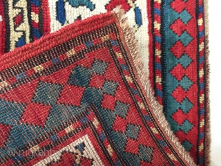 Antique kazak ca 1880 great wool and colour ends and selvedges tidied up invisibly 