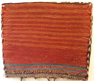 unusual antique Afshar complete bag all wool and natural dyes size 54 x 46 cm, ca 1880. Good condition just deep cleaned. Butterfly border and offset design along with these great soft  ...