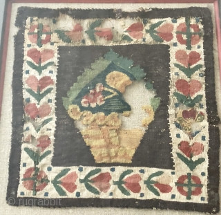 Nice coptic Egyptian square ca 7th C.  Framed textile size 19 x 20 cm.  damaged but complete piece with good colours and rare subject probably not a tunic decoration .  ...
