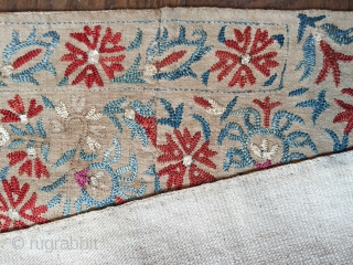 Lovely 18 c Epirus Greek island border fragment. Joined at one end and backed (see detail ). 29 X 171 cm Fresh in