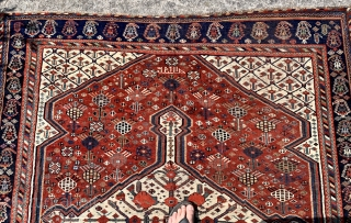 Lovely antique khamseh pomegranate carpet with large chickens dated 1876 (1293)