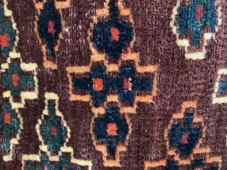 Nice antique yomud torba from the late 19 c all wool natural dyes very good condition with original hanging straps and plain weave back size 76 x 37 cm.   lockdown  ...