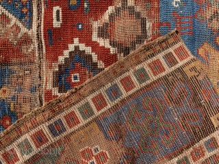 Lovely early kazak fragment two joined pieces from the same rug