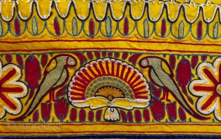 Antique finely embroidered skirt from Gujarat ca 1900 with wonderful colour  size 205 X 75 cm. Silk thread for this satin silk, know in Gujarat as 'gajji' but also sometimes referred to  ...