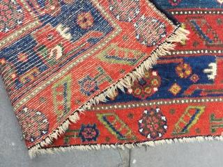 Kolyai Kurd rug great natural dyes all wool   Worn area to top blue see detail large size  246 x 160 bargain art !