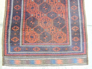 "Superior Baluch rug ca 1880 size 65"" by 38"".