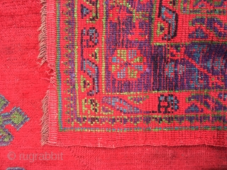 Antique Ushak carpet with nice purple size 316 X 226 cm Good pile and condition tiny nick out of one end and some staining on surface of wool (see last 2 details)should come  ...