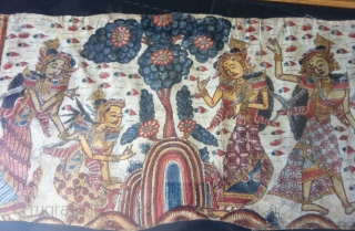 superb Antique Balinese scrole hand painted on cotton size 1.76 m x .36 m.
