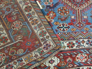 """Antique Khamseh """"chicken"""" or """"murgh"""" carpet late 19C size 10 ft 1 """" by 7 ft 3"""". Unusual to find a main carpet with this design.  All wool and natural dyes in  ..."""